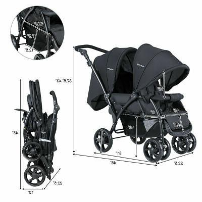 Foldable Twin Baby Stroller Travel Stroller Infant Pushchair
