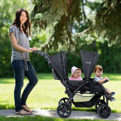 Foldable Twin Stroller Lightweight Travel Infant Pushchair