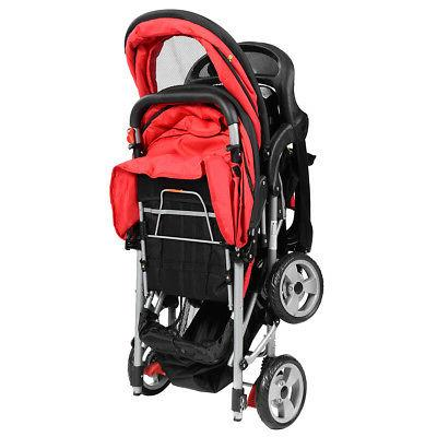 Foldable Twin Stroller Kids Jogger Infant Pushchair Red