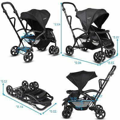 Folding Sit Stand Ultra Tandem Pushchair Double Black