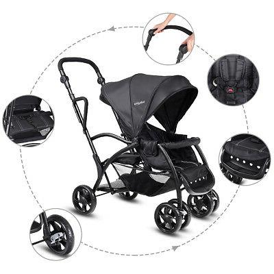 Folding Baby Stand Tandem Stroller Pushchair Double Kids