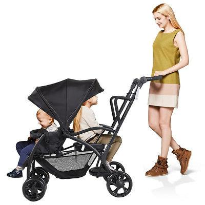 Folding Sit Stand Tandem Pushchair Double