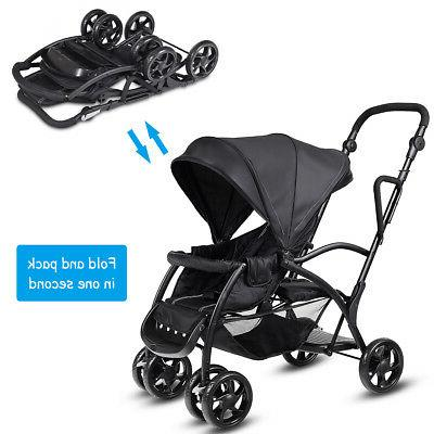 Folding Sit Stand Ultra Tandem Stroller Pushchair