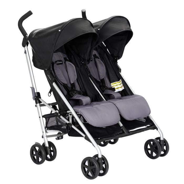 Minno Twin Double Stroller, Lightweight Canopy and Basket