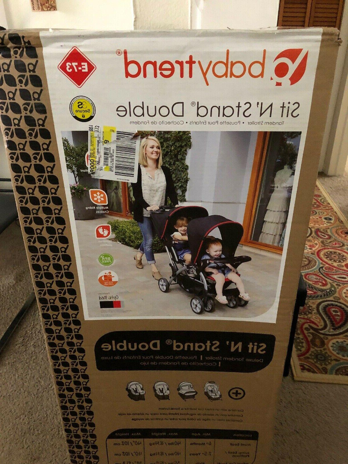 NIB Baby Trend n Stand Double Stroller Optic Red
