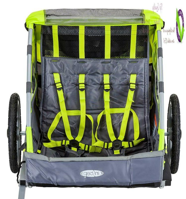 Instep Quick-N-Ez Double Behind Bike Trailer, Converts To Stroller/Jogr