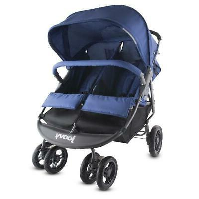scooter x2 double stroller blue
