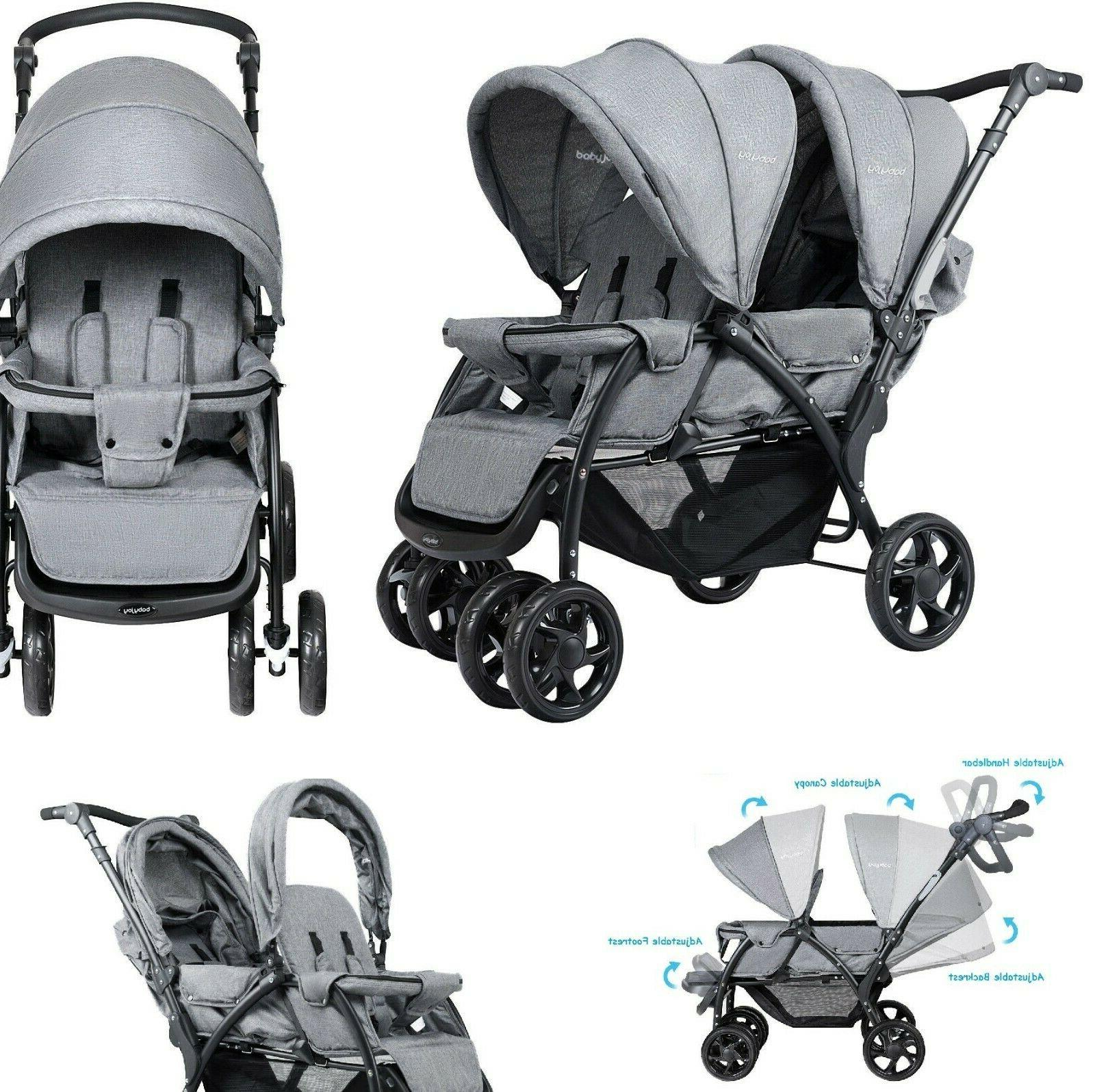 twin stroller double baby pushchair infant foldable