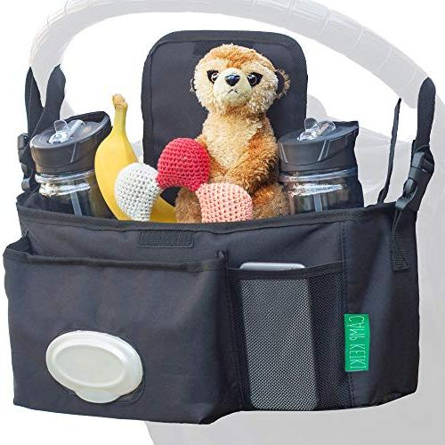 Universal Stroller Organizer with Cup Holders, Single XL Space Phones, Diapers, Shower & Baby Registry