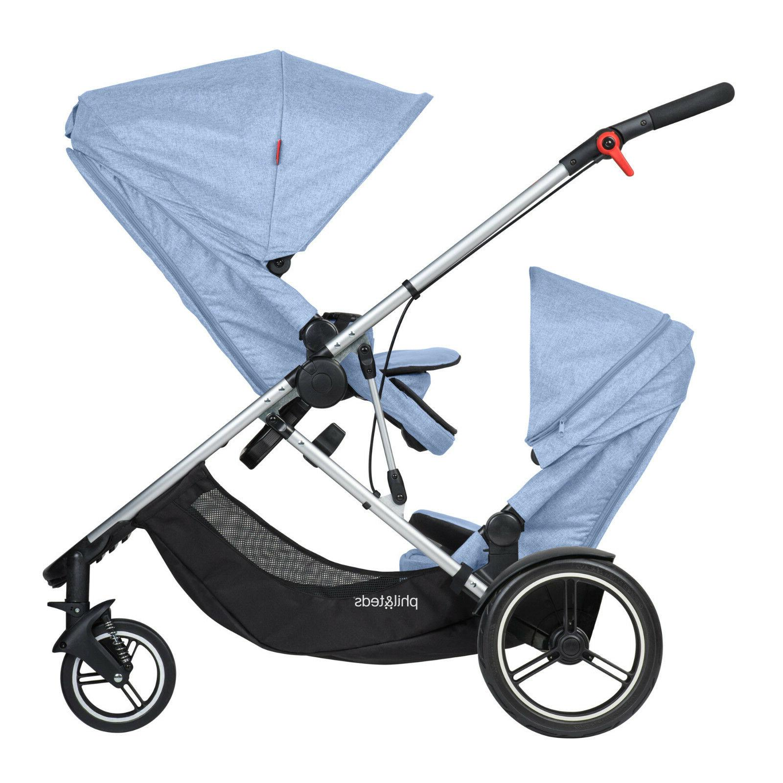 Phil & Teds New Voyager Stroller & Double Kit Blue Marl Bran