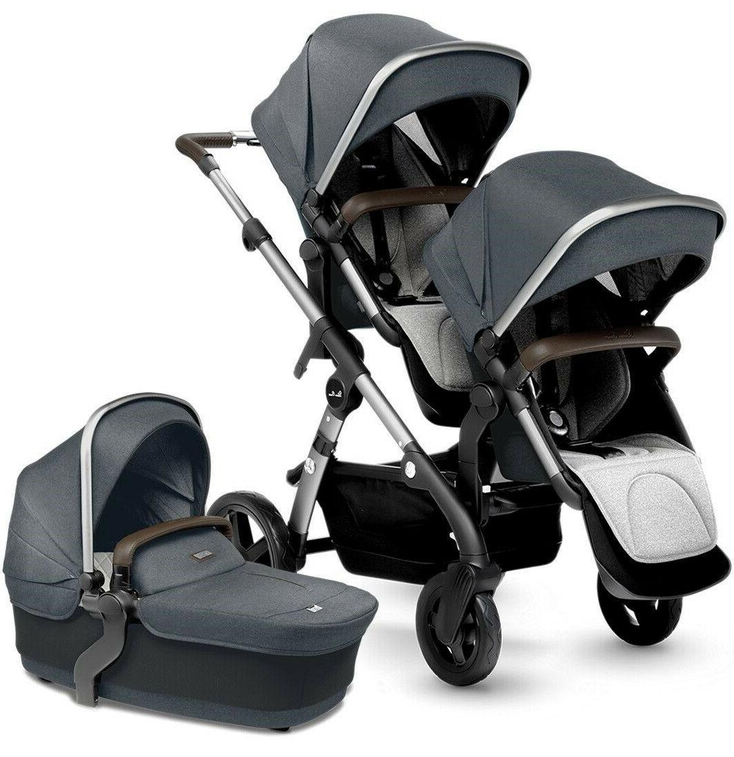 wave twin baby double pram system stroller