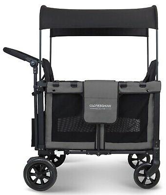 Wonderfold W2 2 Folding Stroller Wagon Gray
