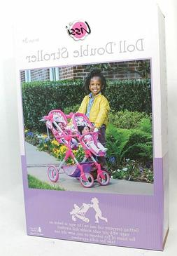 """LISSI DOLL DOUBLE STROLLER FITS 2 DOLLS UP TO 18""""  MULTI-COL"""