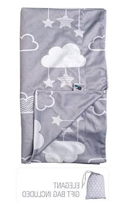 """Minky Baby Blanket 30"""" x 40"""" - Stars and Clouds - Soft Swadd"""