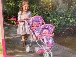 new double twin doll toy stroller fits