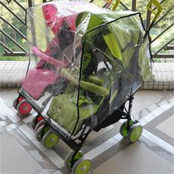 Infant Double Baby Clear Stroller Rain Cover Weather Pram Pu