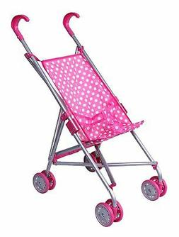 Precious toys Pink /& White Polka Dots Foldable Doll Stroller with swivel wheels