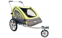 Pull Behind Double Seat Bike Trailer and Stroller Hook On Tr