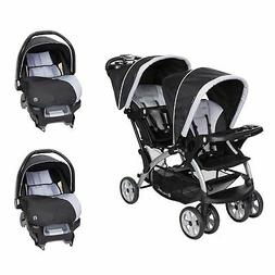 Baby Trend Sit N Stand Double Stroller with 2 Car Seats Trav