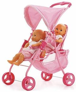 Spring Tandem Twin Doll Stroller Pink Kids Toy Girls Double