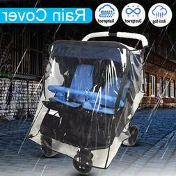 Transparent Universal Twins Stroller Rain Cover Double 360 P