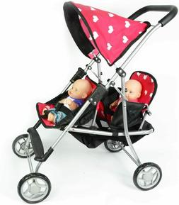 Twin Baby Doll Stroller Toy For Girls Kids Pretend Play Doub
