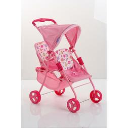 Twin Doll Stroller Pink Seats Recline Retractable Canopy Sho