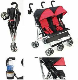 Twin Double Umbrella Stroller Red/Black Lightweight Travel F