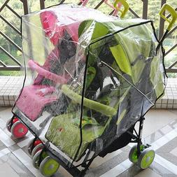 Universal Clear Stroller Rain Cover Double Pushchair Pram Ba