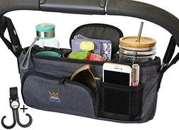 Universal Stroller Organizer With Cup Holders, Caddy Carry H