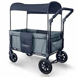 WONDERFOLD 2 Passenger Push Folding Stroller Wagon, Smoky Gr