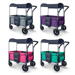 WonderFold W1 2 Passenger Push Folding Double Stroller Wagon